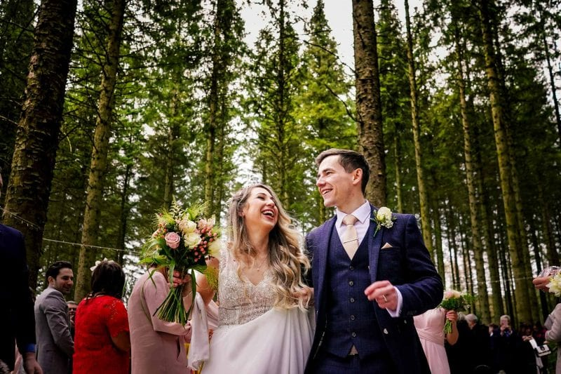 Bride and groom tie the knot at a Scottish forest wedding