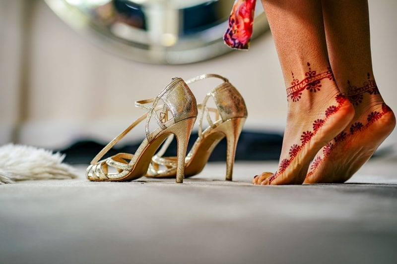 Bride and wedding shoes at Iscoyd Park