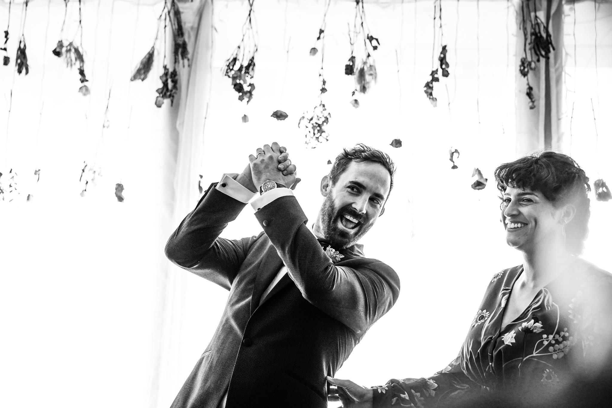 Groom celebrates getting married at a Forest Hill wedding in London