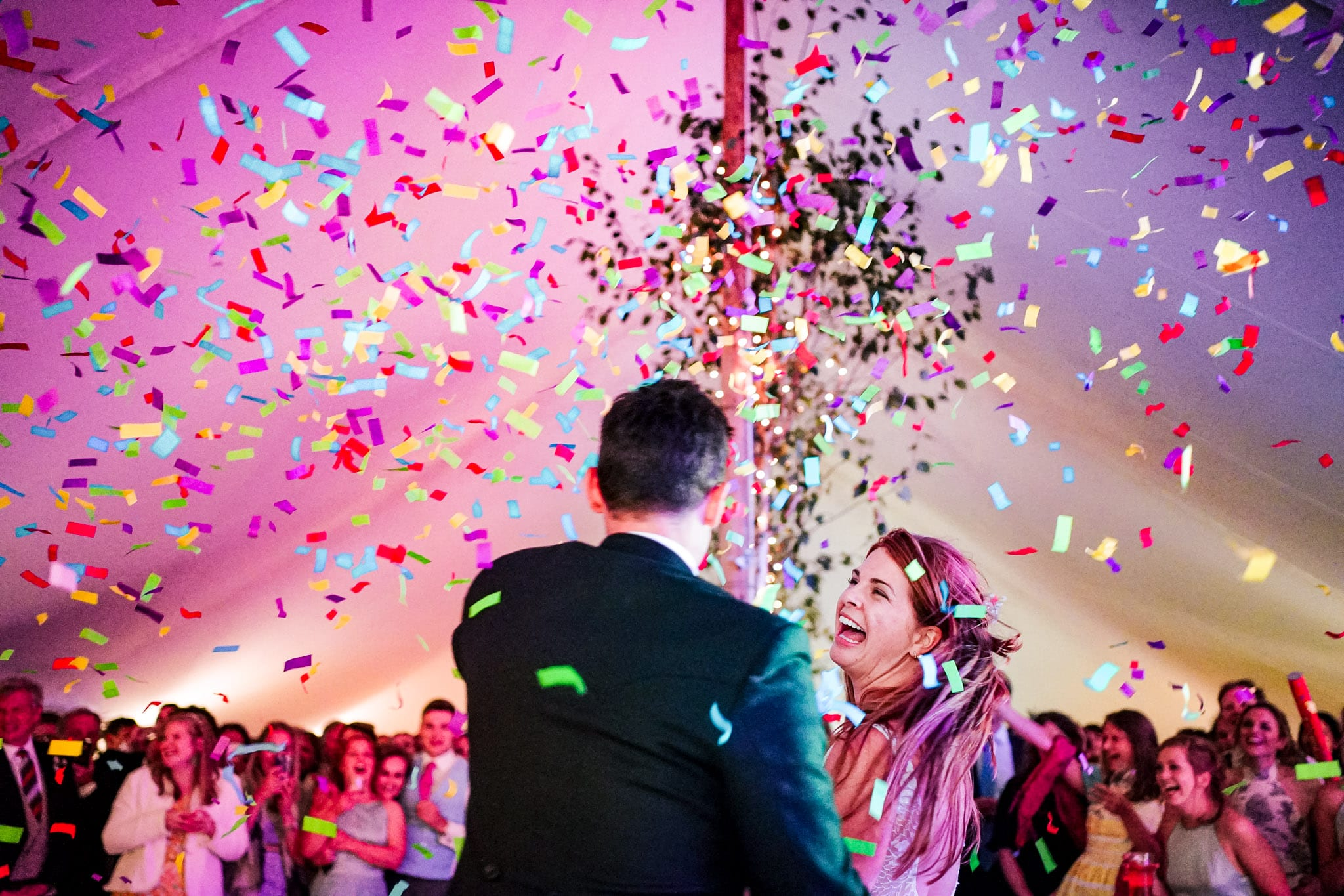 First dance and confetti cannons at a Wiltshire and Dorset wedding