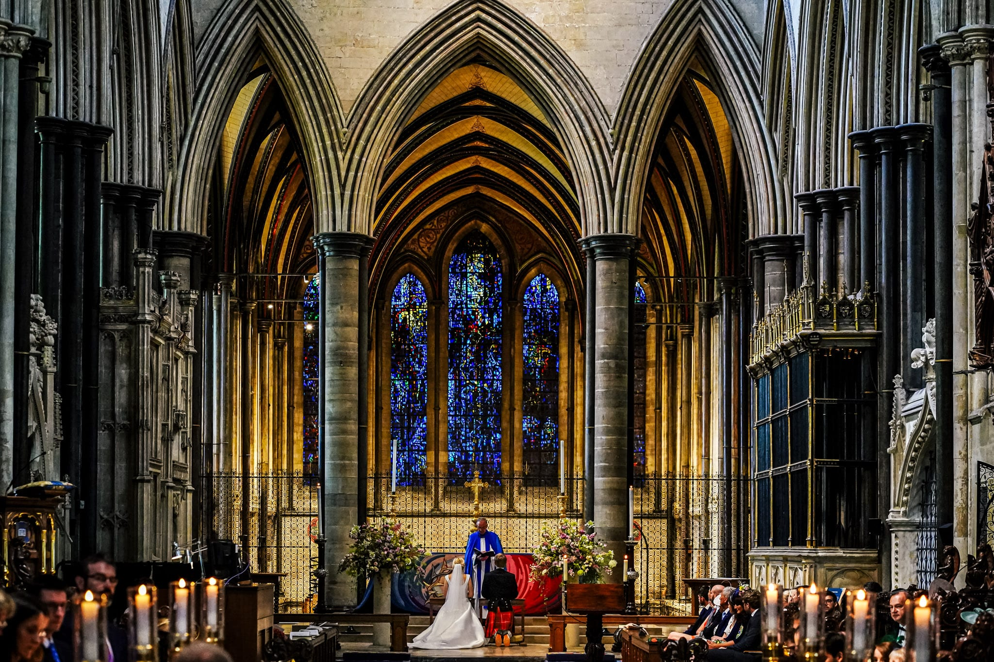 Orchardleigh Estate Wedding Photography Wedding blessing and ceremony at Salisbury Cathedral in Wiltshire