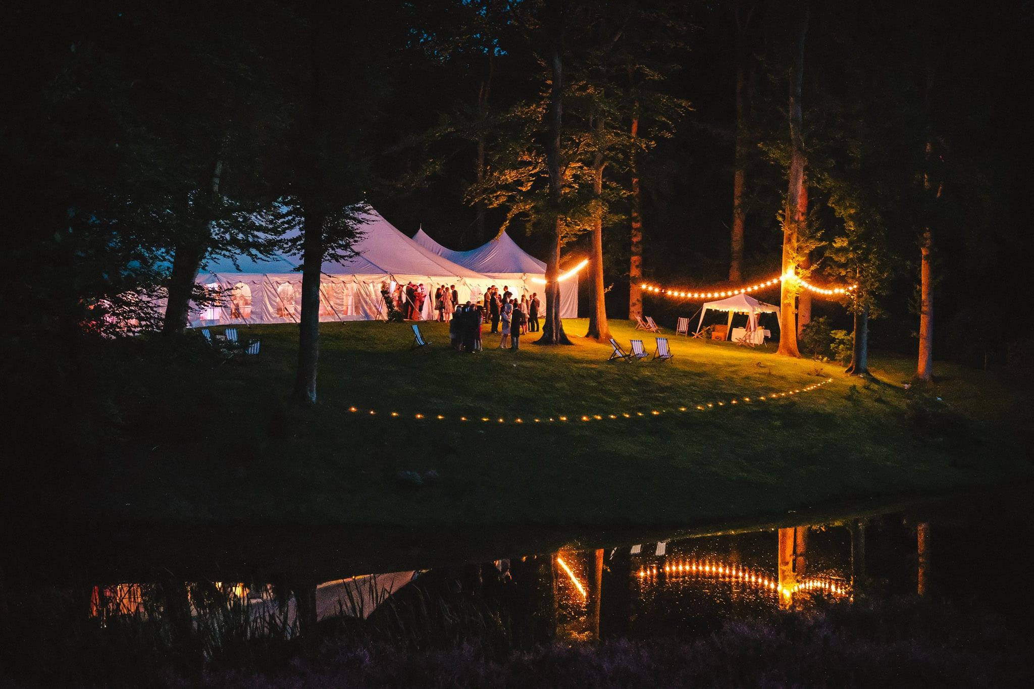 Marquee in evening light a Hyde Estate Wild Garden wedding in Sussex