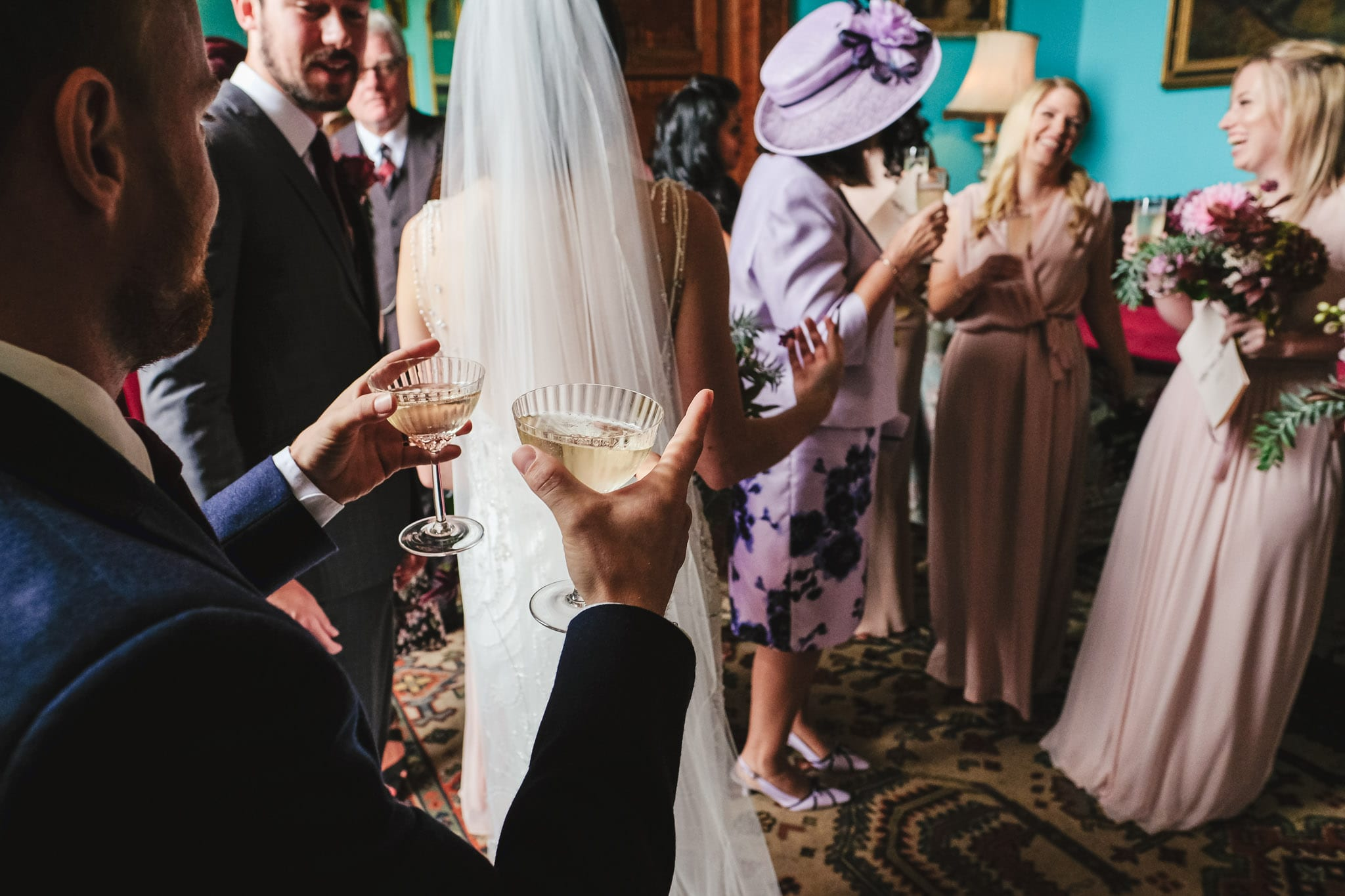 Champagne reception at a Walcot Hall wedding in Shropshire