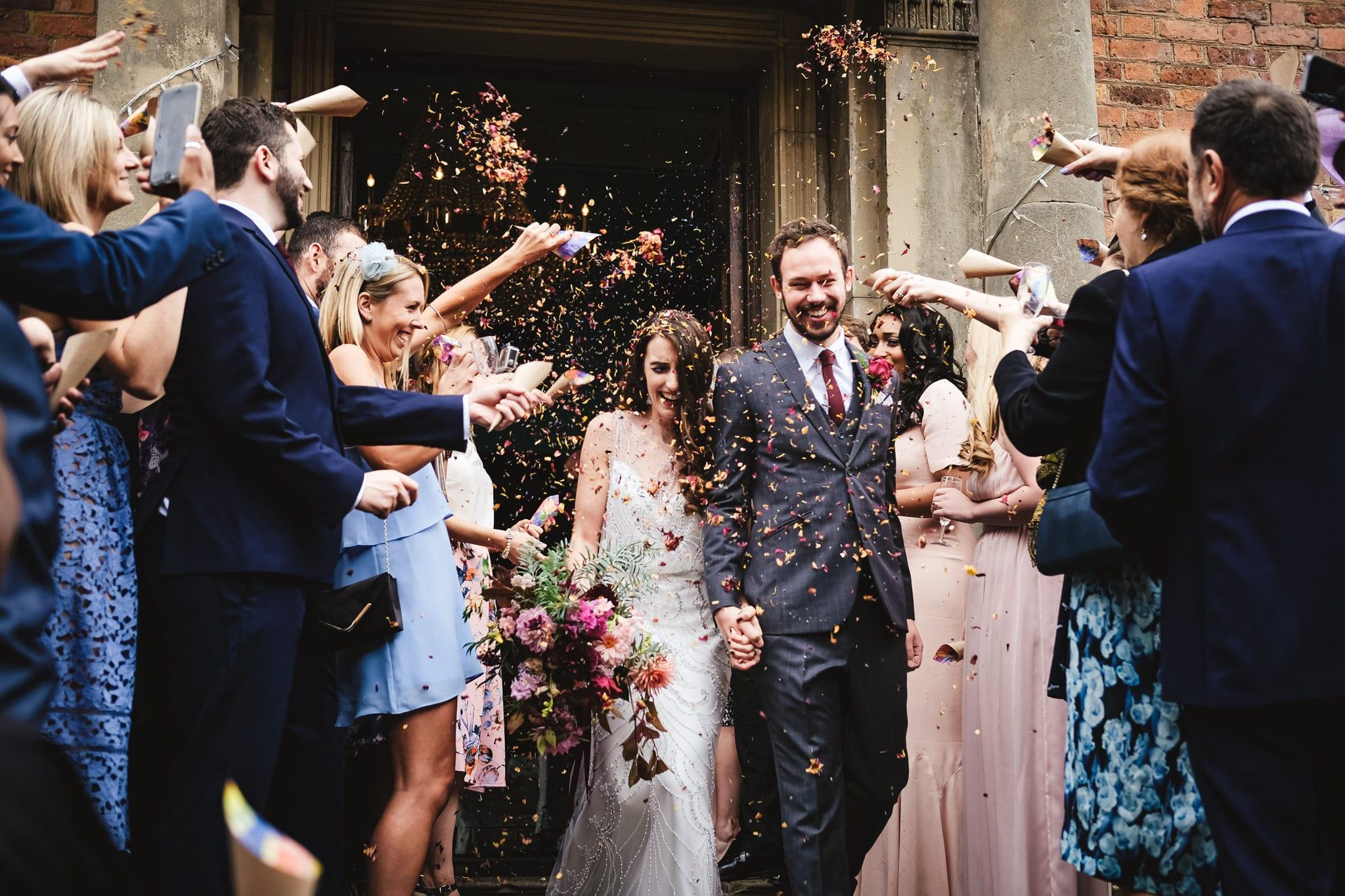 Confetti at a Walcot Hall wedding in Shropshire