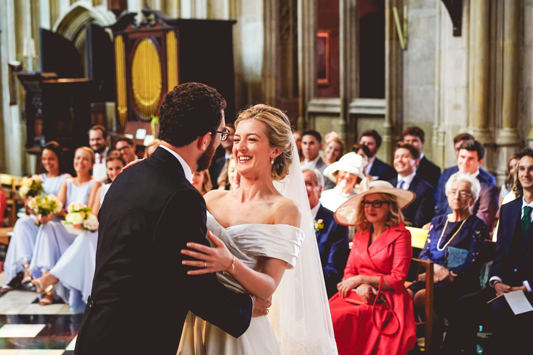 First kiss at a wedding in Eton College Chapel