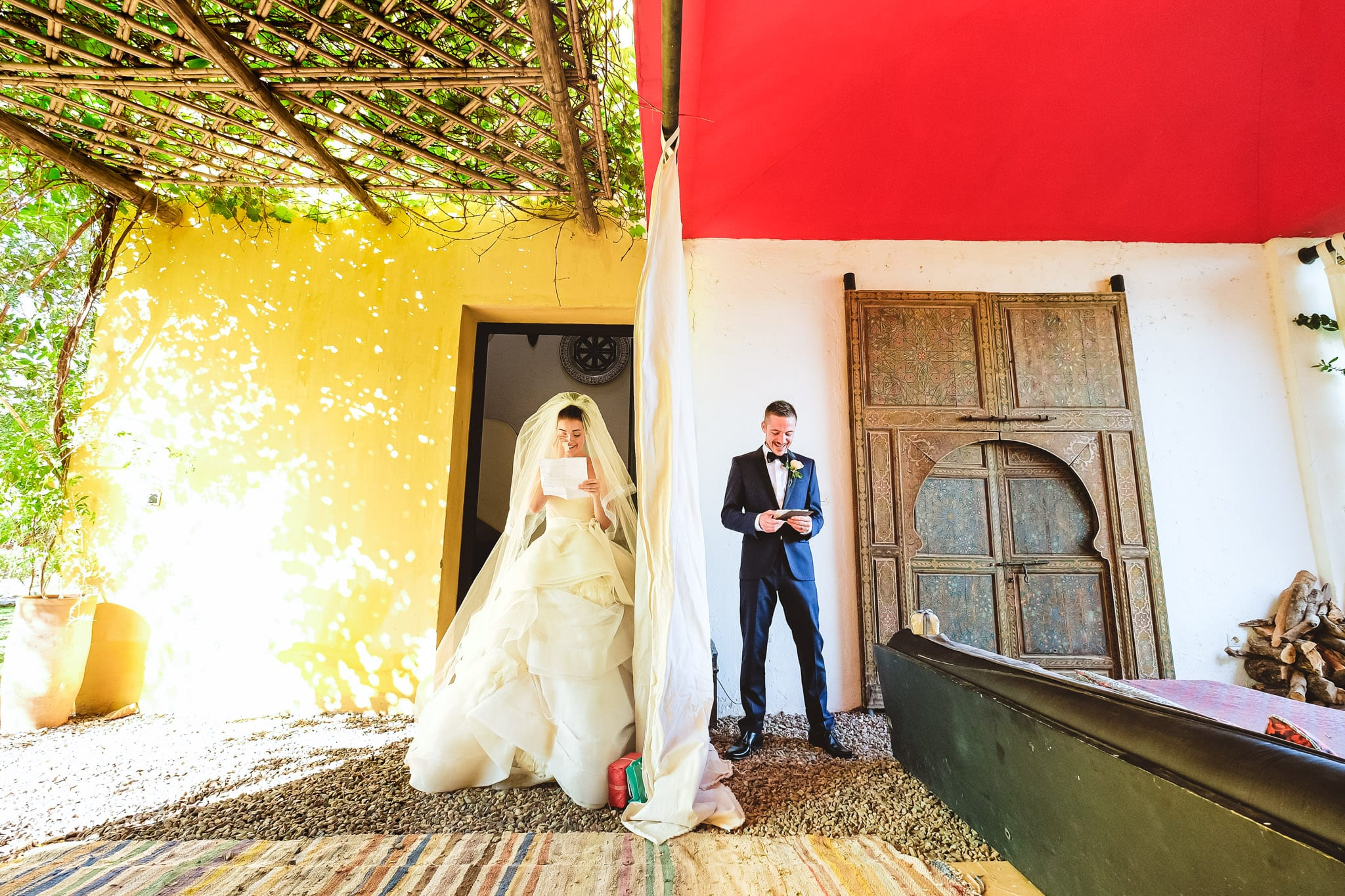 Bride and groom first look at a destination wedding in Morocco