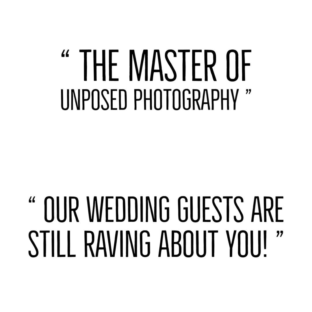 Unposed wedding text